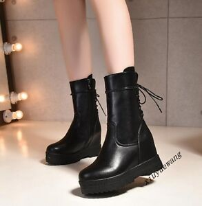Fashion-Womens-New-Shoes-Lace-Up-Wedge-Hidden-Heel-Platform-Ankle-Boots-Size