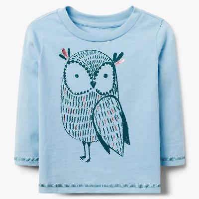 NWT Gymboree Owl T Shirt Top Toddler Girls 2T long Sleeve Blue