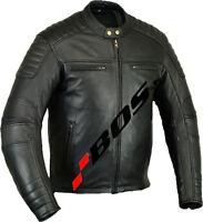 Motorrad Leder Jacke,Motorradjacke, Biker Lederjacke,Herren Motorrad Leder Jacke