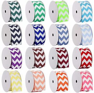 Chevron-Grosgrain-Ribbon-3-8-034-7-8-034-1-1-2-034-2-1-4-034-widths-5-amp-10-yd-rolls-19-colors