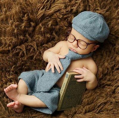 Neugeborene Baby Strick Fotoshooting Kostüm Gentleman Mütze Höschen Krawatte