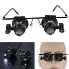 20x Magnifying Eye Magnifier Glasses Loupe Lens Jeweler Watch Repair LED Light