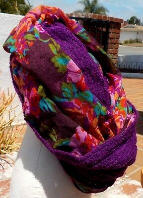 LIGHTWEIGHT MULTI COLORED FLORAL & SOLID PURPLE LONG COWL SCARF FREE SHIPPING