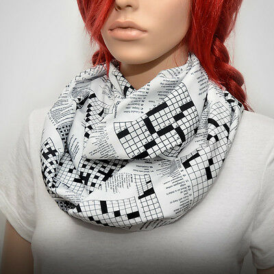 Black & White infinity scarf with crossword puzzles print