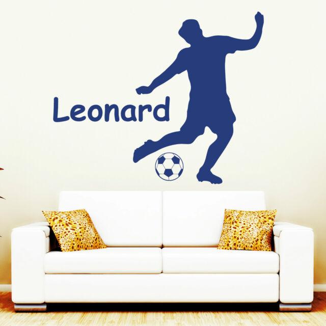 """Wandtattoo Loft """"Fußballer"""" mit WUNSCHNAMEN Fußball WM Brasilien Sport 10387"""