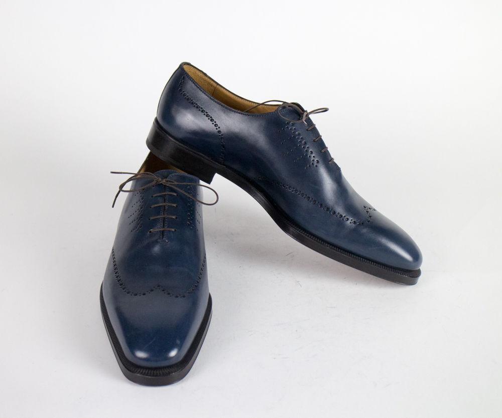New SUTOR MANTELLASSI blu Leather Wingtip Oxfords scarpe Dimensione 18 US  895