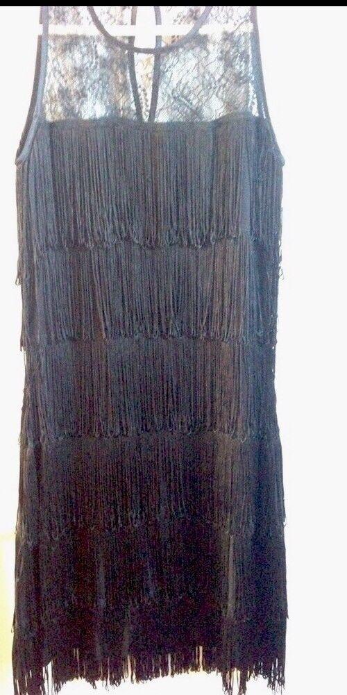 Warehouse 1920s Gatsby Flapper Charleston Downton Fringe Tassel Dress Size 8
