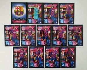 2019-20-Match-Attax-UEFA-Soccer-Cards-Barcelona-Team-Set-inc-Messi-13-cards