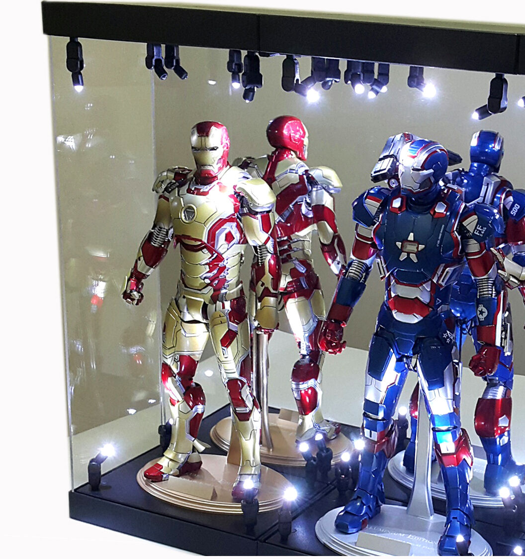 Acrylic Display Case Light Box for TWO 12  1 6 Figure IRON MAN Mark 24 33 39 42