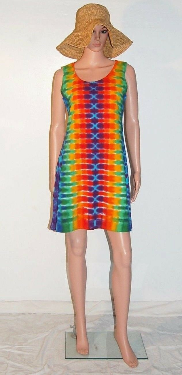 TIE DYE Woherren Rainbow DNA Short Tank Top Dress hippie sm med lg xl 2X 3X