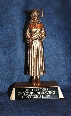 "Free Engraving!! Graduation Trophy Large 9/"" Gold Resin Male Graduate"