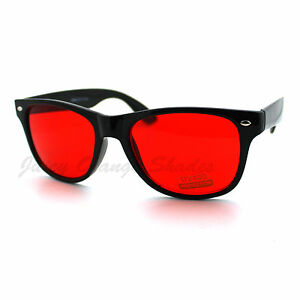 Classic-Square-Frame-Horn-Rim-Sunglasses-Red-Yellow-Lens