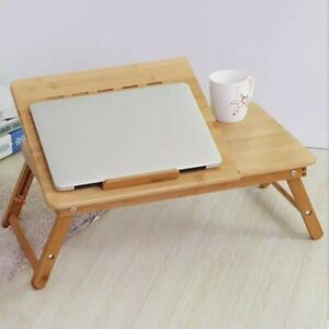 Portable-Deluxe-Bamboo-Laptop-Bed-Desk-Table-Foldable-Workstation-Tray-OZSTOCK