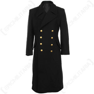 Black-Navy-Great-Coat-Winter-Trench-Long-Wool-Military-Full-Length-New