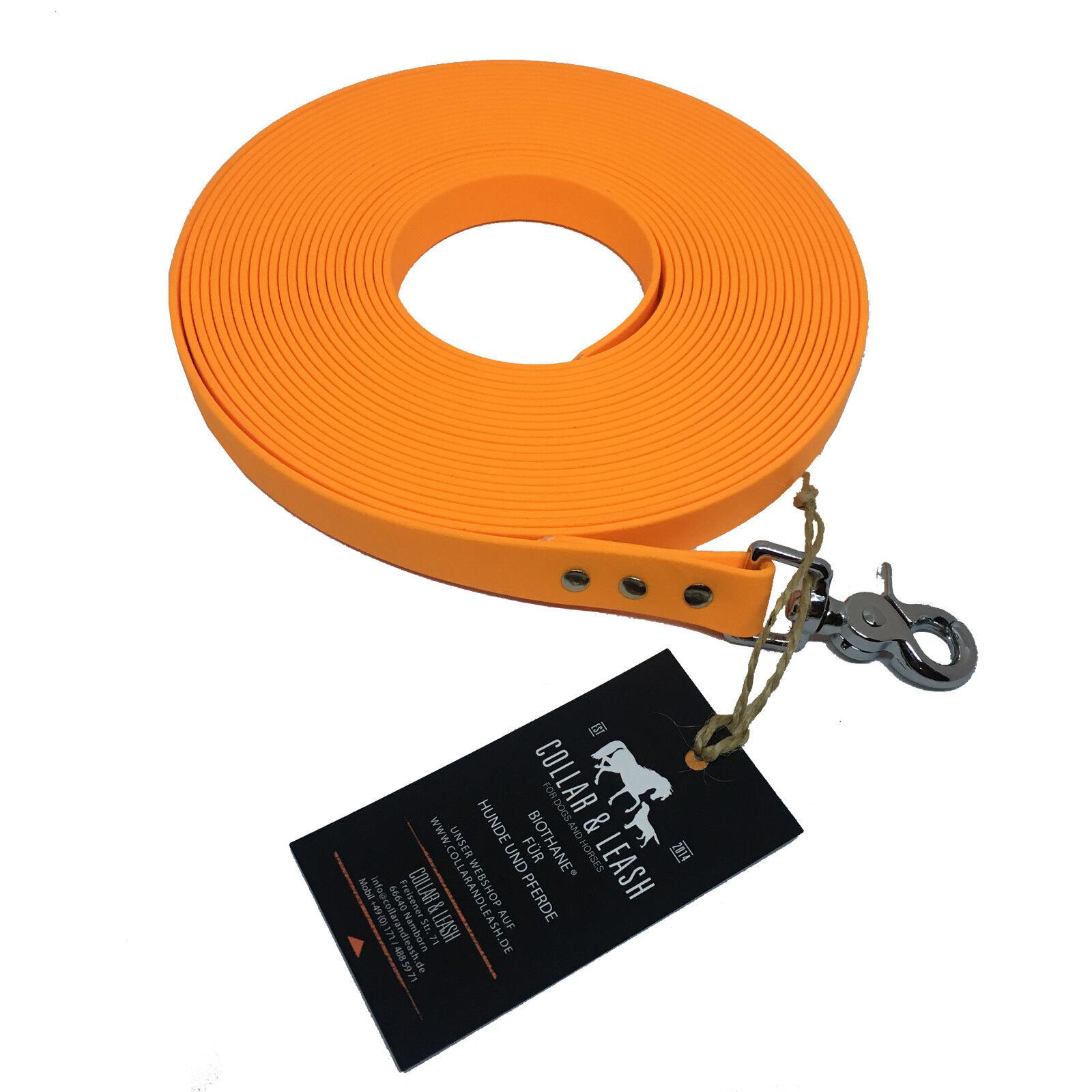 BIOTHANE Schleppleine Fährtenleine Hundeleine 19mm pfirsich Orange 3m bis 15m
