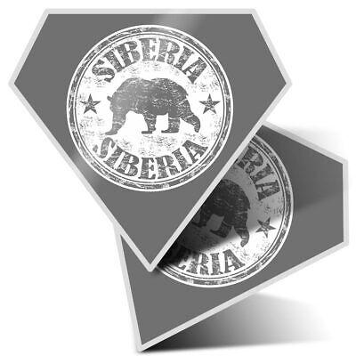 Siberia Russian Big Bear  #40256 BW 2 x Heart Stickers 10 cm