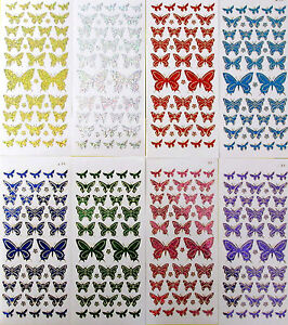 BUTTERFLIES-Diamond-Shimmer-Holographic-PEEL-OFF-STICKERS-Butterfly