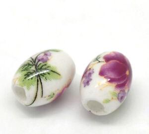 50PCs-Flower-Pattern-Oval-Ceramic-Beads-10x8mm-3-8-034-x3-8-034