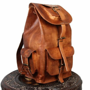 20-039-039-Goat-Leather-Backpack-Travel-Rucksack-Luggage-Camping-Bag-Genuine-Brown