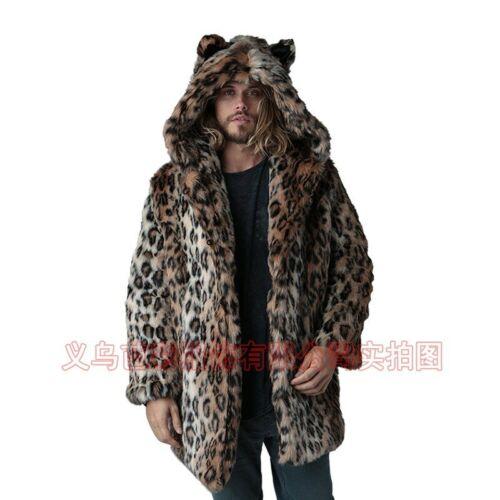 Men Winter Leopard print Faux Mink Fur Jacket Overcoat Hooded Thicken Outerwear