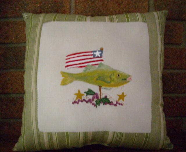 CATFISH  USA Pillow Primitive Folk Art Prim HP