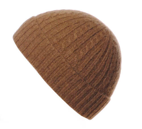 Made in England Mens Ladies 100/% Cashmere Cable Ribbed Turn Up Beanie Hat Hats