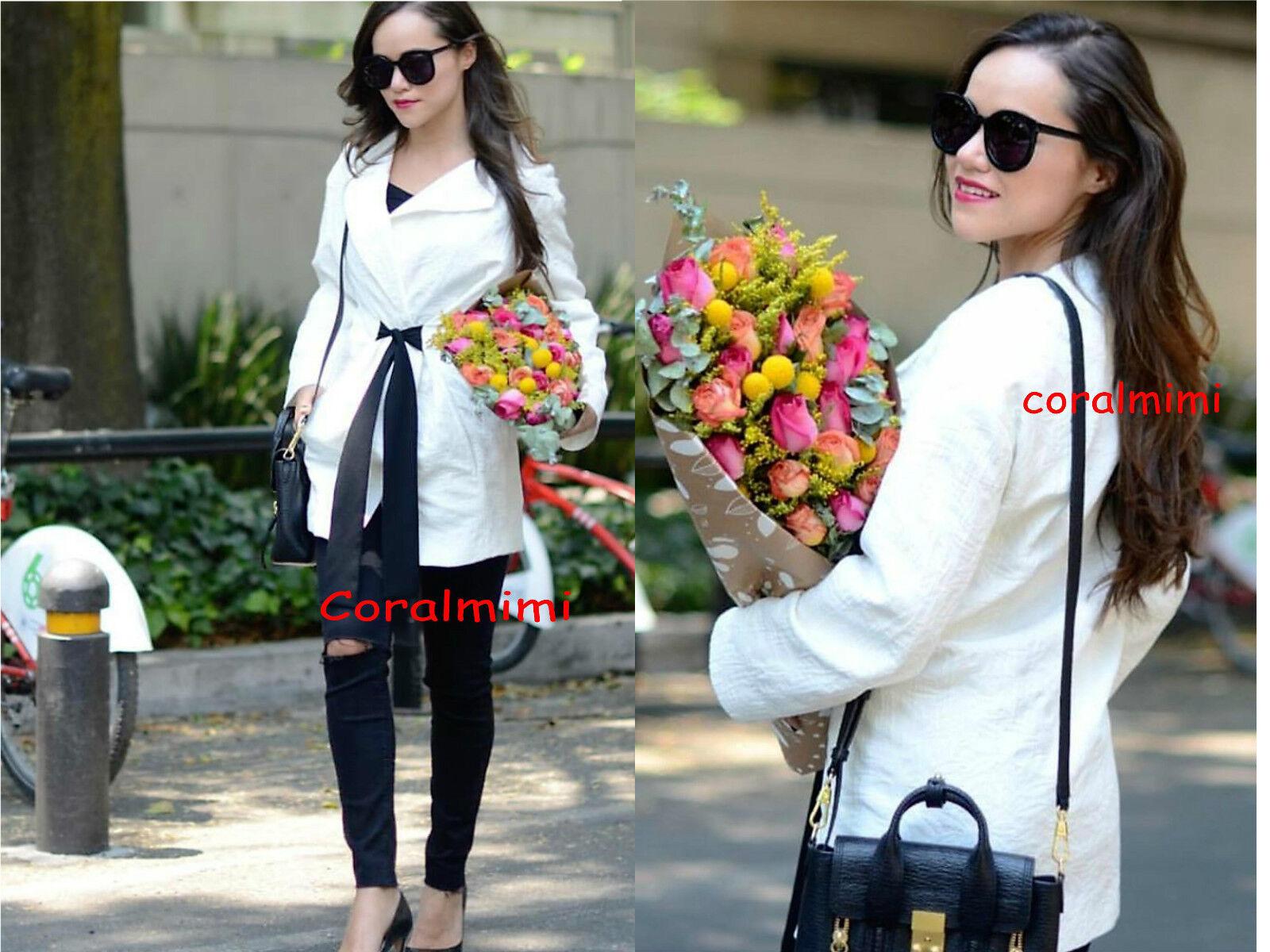 ZARA NEW WHITE long KIMONO coat with contrasting belt size L