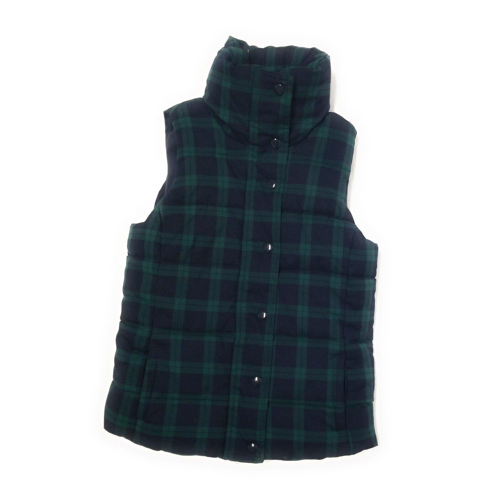 Old Navy Womens Navy bluee & Green Green Green Tartan Plaid Puffer Vest Size XS 4034fa