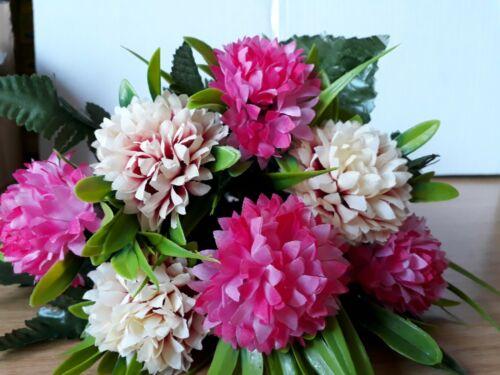 schöner Blumenstrauß mit pink- und cremefarbenen Blüten neu 30cm ca