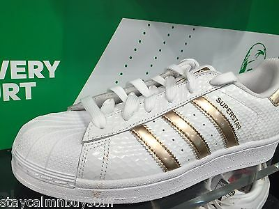 Adidas Superstar Metallic Gold White Honey Comb Web Shell Toe S79416 Women Sizes