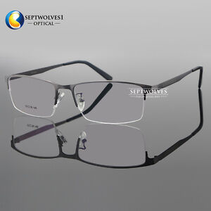 32e554fdea3 Image is loading Men-Titanium-Metal-Half-Rimless-Myopia-Eyeglasses-Frames-