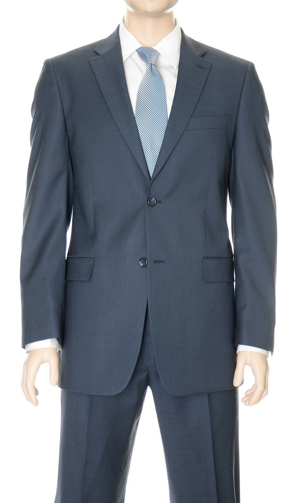 650 Jones New York Classic Fit Blau TextuROT Two Button 100% WoolSuit 36S 29.5W