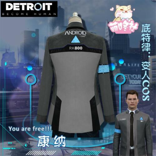 Become Human Connor RK800 Cosplay Costume Suit Outfit Mens Coat Jacket Detroit