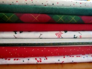 Christmas 8 fat quarter bundle fabric cotton Green red ...