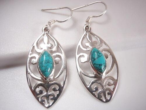 Turquoise Marquise Filigree 925 Sterling Silver Dangle Earrings Corona Sun