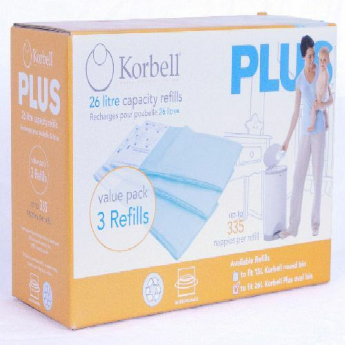 Korbell Plus Nappy Bin 26L and Pack of 3 Refill Liners