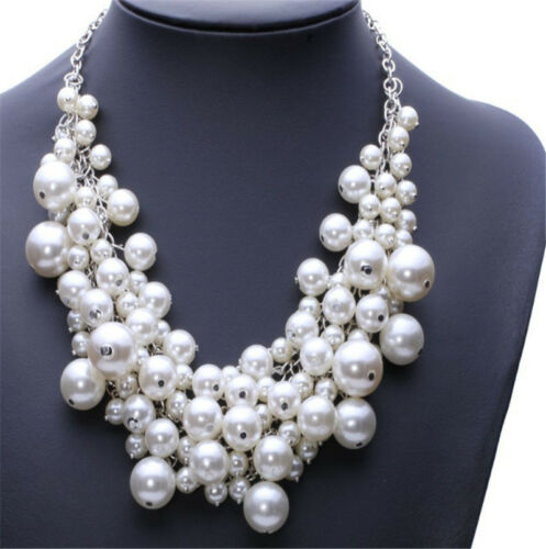 New Pearl Beads Cluster Collar Chunky Chain Choker Necklace Wedding Accessory