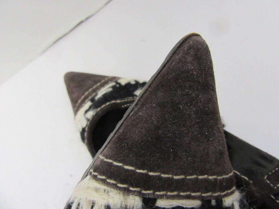 MIU MIU MIU MIU braun SUEDE schwarz Weiß TWEED SLINGBACKS SZ 37.5 69ddcc