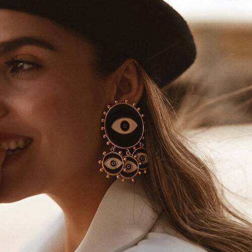 Black Evil Eye Big Statement Earring Punk Exaggerated Dripping Oil Drop Earring