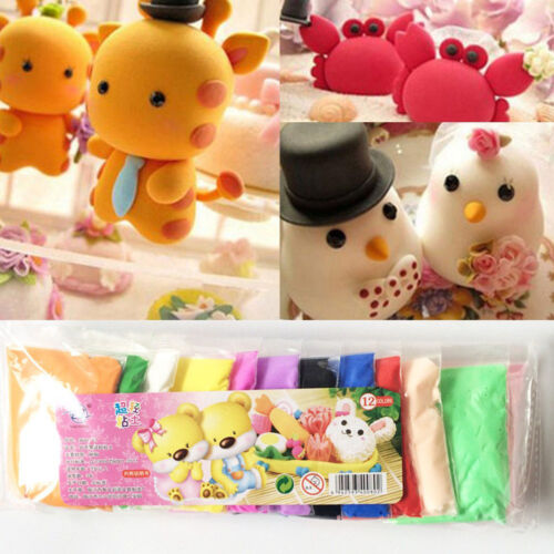 12 Colors Craft Soft Polymer Clay Plasticine Fimo Effect Modeling JD