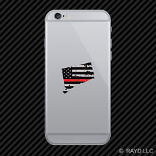 Distressed Connecticut Shaped Subdued US Flag Thin Red Line Cell Phone Sticker