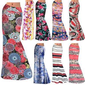 Boho-Women-039-s-Vintage-Floral-Stretch-High-Waist-Gypsy-Beach-Long-Maxi-Skirt-Dress