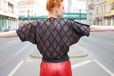 Leder Shirt Pullover Patchwork Fransen kurzarm 80er True VINTAGE 80s selten rar