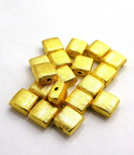 20 PCS 8X5MM SQUARE BRUSHED BEAD 18K GOLD PLATED 106 14B1-U335