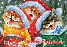 Cat Christmas Card Merry Christmas Art by Irina Garmashova