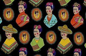 Alexander-Henry-Folklorico-Fantastico-Frida-Kahlo-Black-Cotton-Fabric-BTY