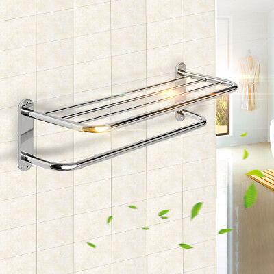 Stainless Wall Mounted Towel Rack Bathroom Hotel Rail Holder Storage Shelf 2Tier