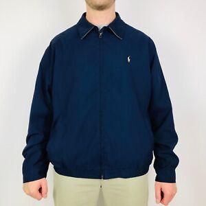 Vintage-Polo-Ralph-Lauren-Harrington-Jacket-Men-039-s-Large-Navy-Full-Zip