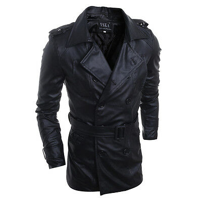 Fashion Mens Slim Stylish Trench Coat Winter Long Jacket Leather Overcoat Belted
