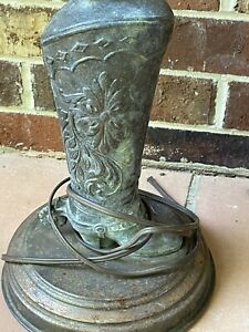 Vintage Metal Cowboy Boot Table Lamp, Bronze/Copper Patina, Western Untested